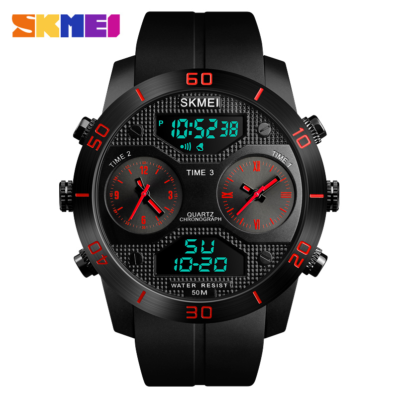 Outdoor Sports Watches Men 50m Waterproof LED Digital Dual Display Quartz Watch For Man Clock relogio masculino SKMEI 2018 2018 amuda gold digital watch relogio masculino waterproof led watches for men chrono full steel sports alarm quartz clock saat