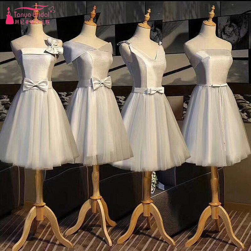 A Line Cheap   Bridesmaid     Dresses   Pearl Pink /Sliver Simple Wedding Guest   Dress   Formal Wear DQG225
