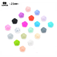 50 pieces/lot Hot Sale 21mm Double-faced Rose Flower Silicone Beads Teething For Necklace BPA Free