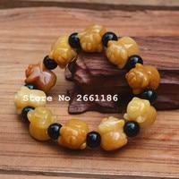 Natural Yellow Quartzite Stone Pig Bracelet Green Sandstone Round Beads Bangles Gift for Women Stone Nephrite Jades Jewelry