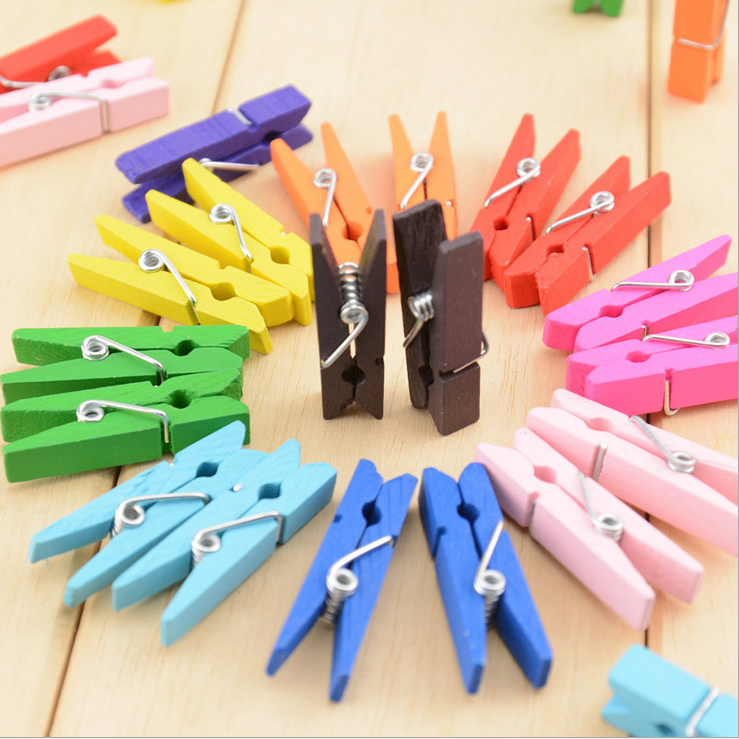 Creative Color Small Wood Diy Hand-decorated Drying Photos Photo Notes Notes Clip Multi-color Random
