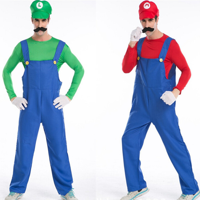 High Quality Halloween Men Funy Cosplay Costume Super Mario Luigi Brothers Plumber Fancy Performance Prop Mustache  sc 1 st  AliExpress.com & High Quality Halloween Men Funy Cosplay Costume Super Mario Luigi ...