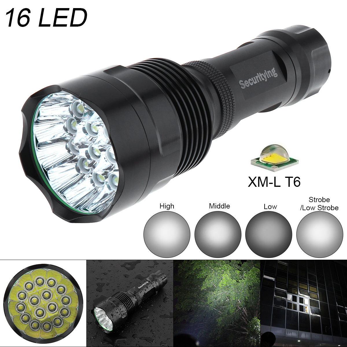 SecurityIng Waterproof Flashlight Super Bright 16x LED 5400 Lumens Torch with 5 Modes Lamp Support 18650 Rechargeable Battery in LED Flashlights from Lights Lighting