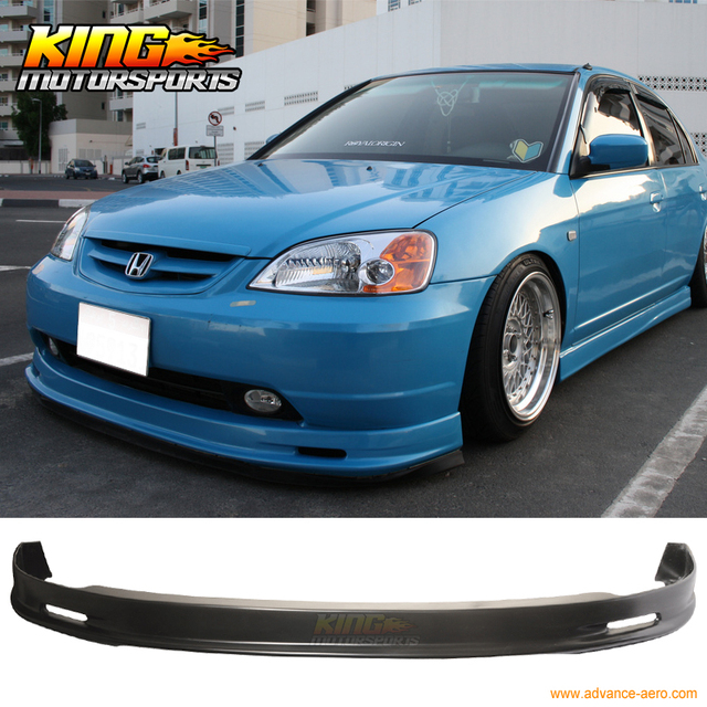 For 01 03 Honda Civic 2dr 4dr Mug Pp Front Per Lip Spoiler Bodykits Polypropylene Car Styling Usa Domestic Free Shipping