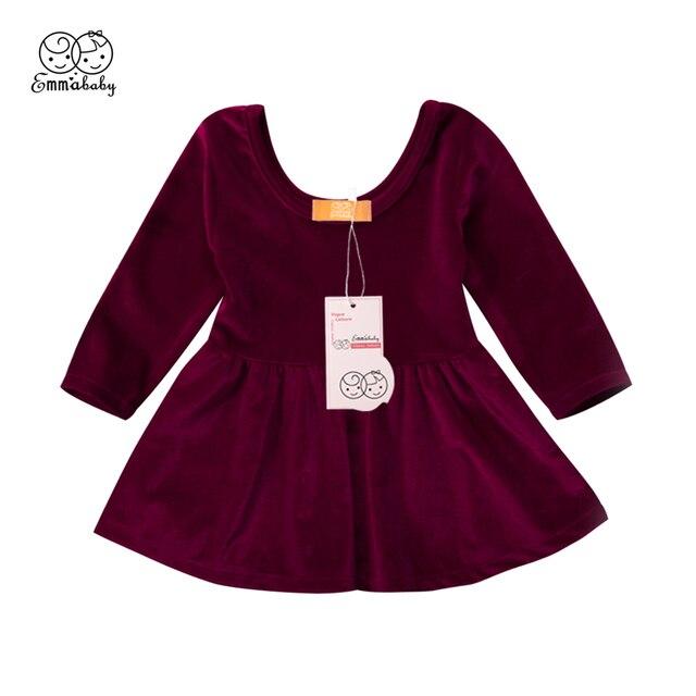 1b3999d84d5 Lovely Winter Fall Dress For Girls Baby Girl Long Sleeve Retro Dresses  Christmas Pleuche Dress For Girls 2018 Baby Girl Vestido