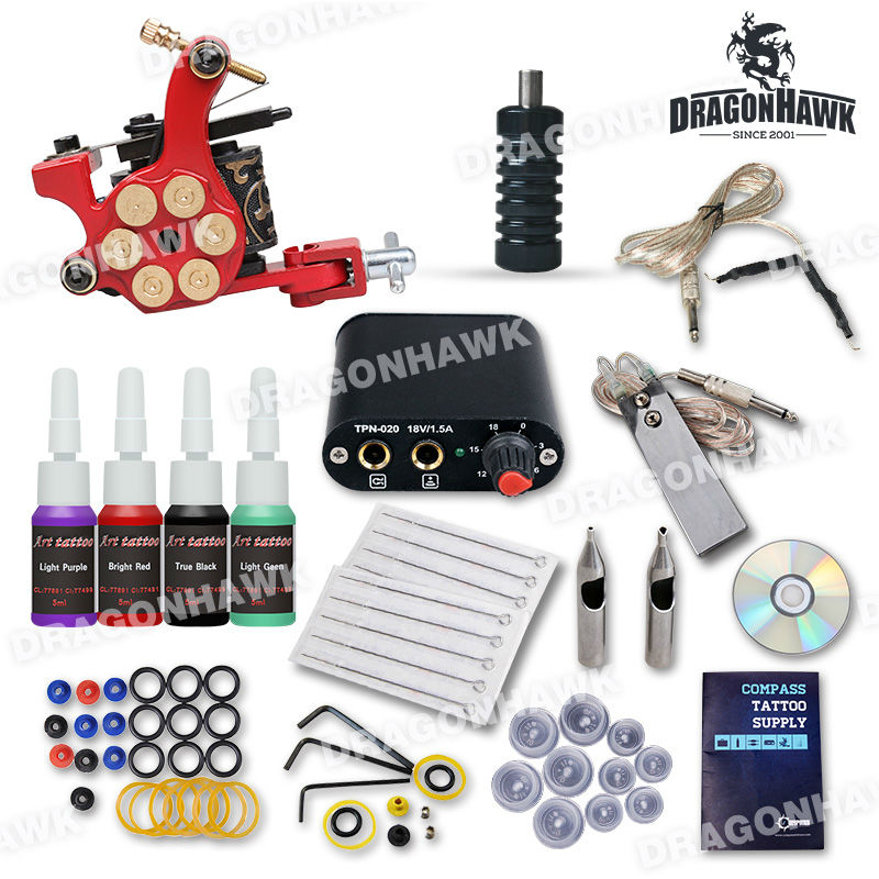 Professional Beginner Tattoo Kit Machine Guns Inks  Tattoo Power Supply D1025GD-2 beginner tattoo kit 1 machine gun 4 inks needles tattoo power supply d1025gd 2