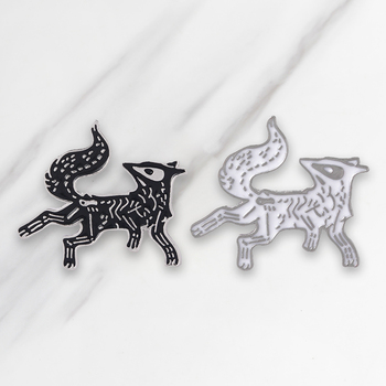 Black and White Enamel brooch Wolf Lapel pin Denim Jeans shirt bag Cartoon Cool Punk Jewelry Gift for Men Boys Friends image
