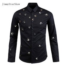 2017 New Cotton British Style Dress Shirts High Quality Mens Casual Shirt Men Handmade Metal Swallows  Slim Fit Non-iron Shirts