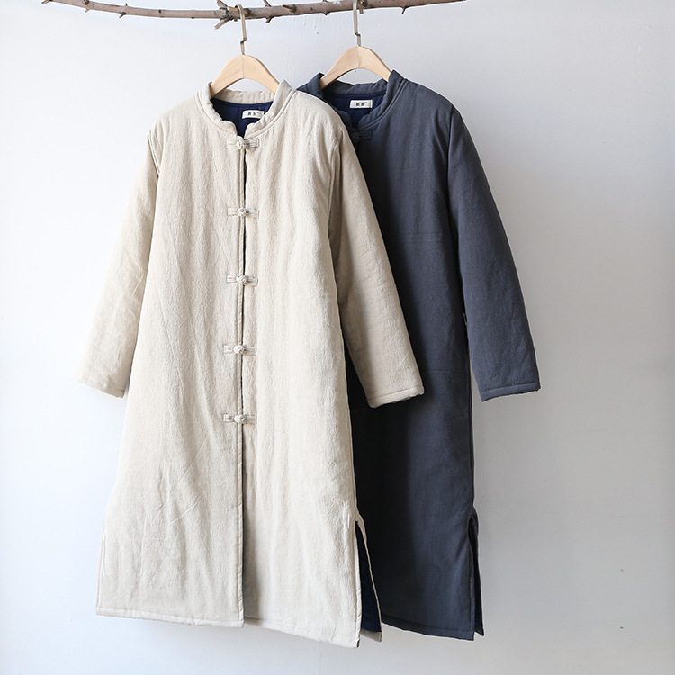 Winter new cotton hemp women's clothing Chinese retro national style coat plate buckle long   parkas   linen jackets outwear