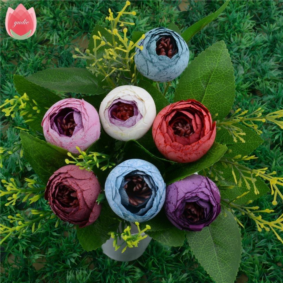 50pcs Spring Silk Mini Small Tea Bud Artificial Flower For Wedding Home Decoration Camellia Mariage Flores Satmen Flowers Plants