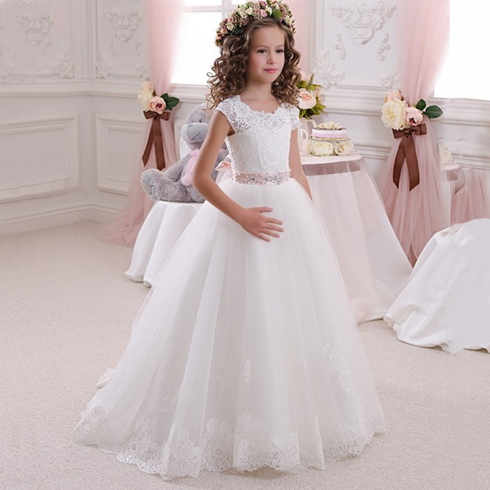 Stunning Sleeveless Holy Communion Dresses Kids Floor Length Ruffles Lace Tulle Ball Gowns S Birthday Dress Custom Made