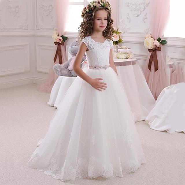 defe7d1affb Stunning Sleeveless Holy Communion Dresses Kids Floor Length Ruffles Lace  Tulle Ball Gowns Girls Birthday Dress