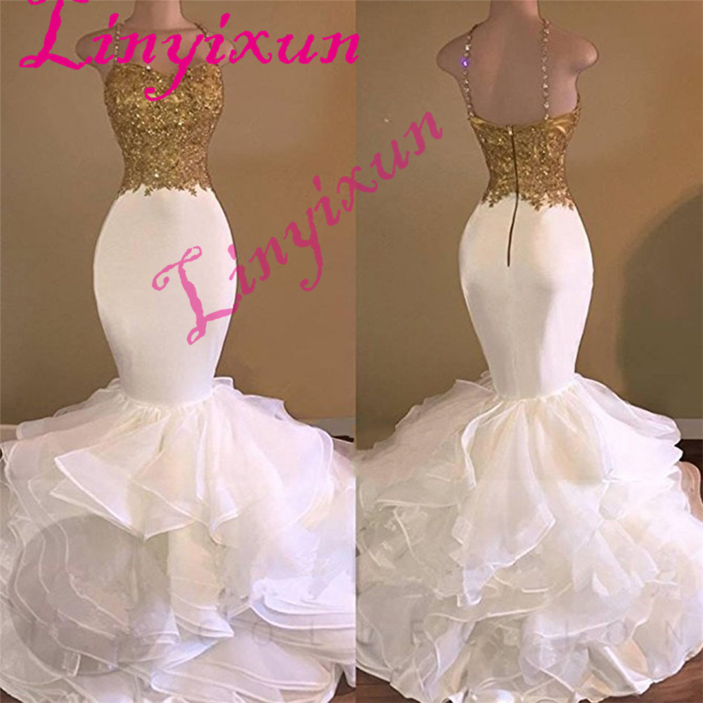 Sexy Long Mermaid White And Gold Prom Dresses 2018 Spaghetti Strap Applique Lace Ruffles Organza Formal Evening Dresses Custom