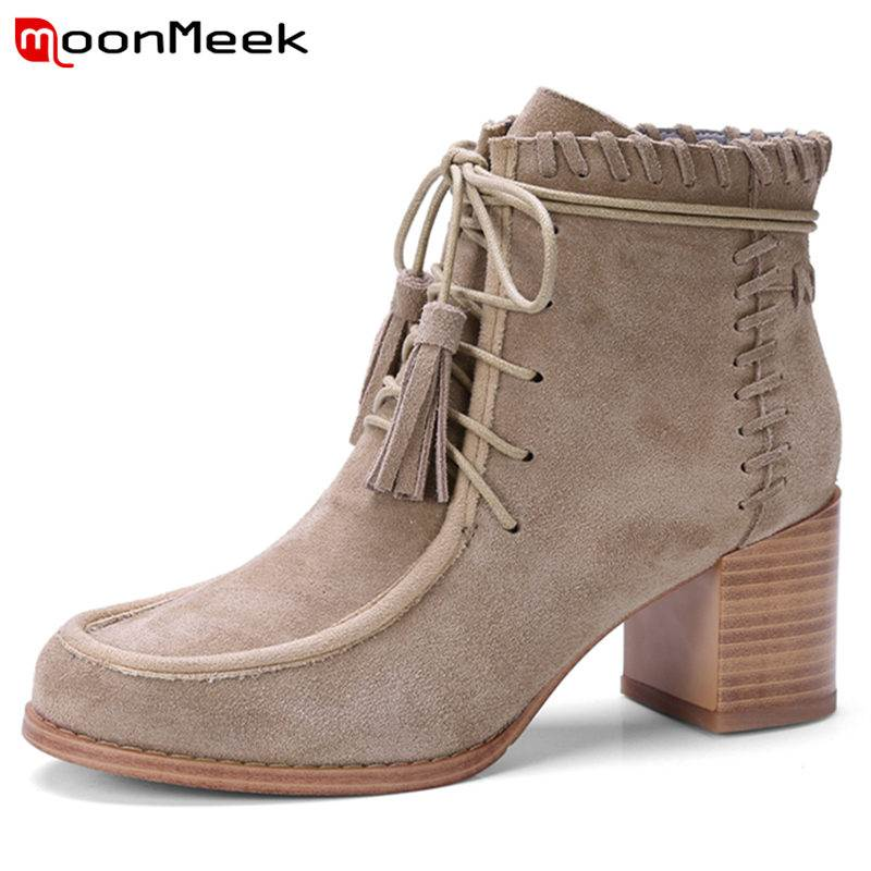 MoonMeek HOT 2018 fashion tassel cow suede leather boots lace up ankle boots women round toe square high heel antumn boots round toe suede lace up mens boots