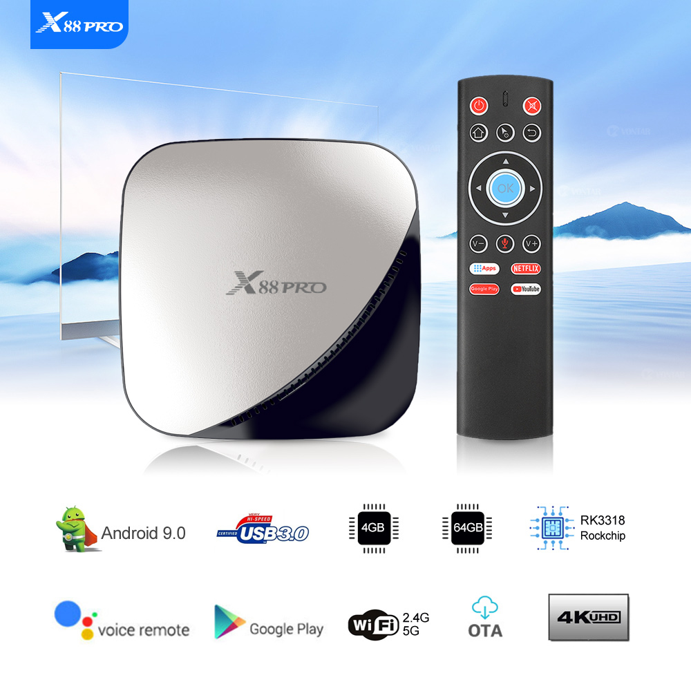 Image 3 - X88 PRO TV Box Android 9.0 4GB RAM 128GB 64GB 32GB Google Voice Assistant RK3318 Quad core Wifi 4K X88PRO 2GB 16GB set top box-in Set-top Boxes from Consumer Electronics