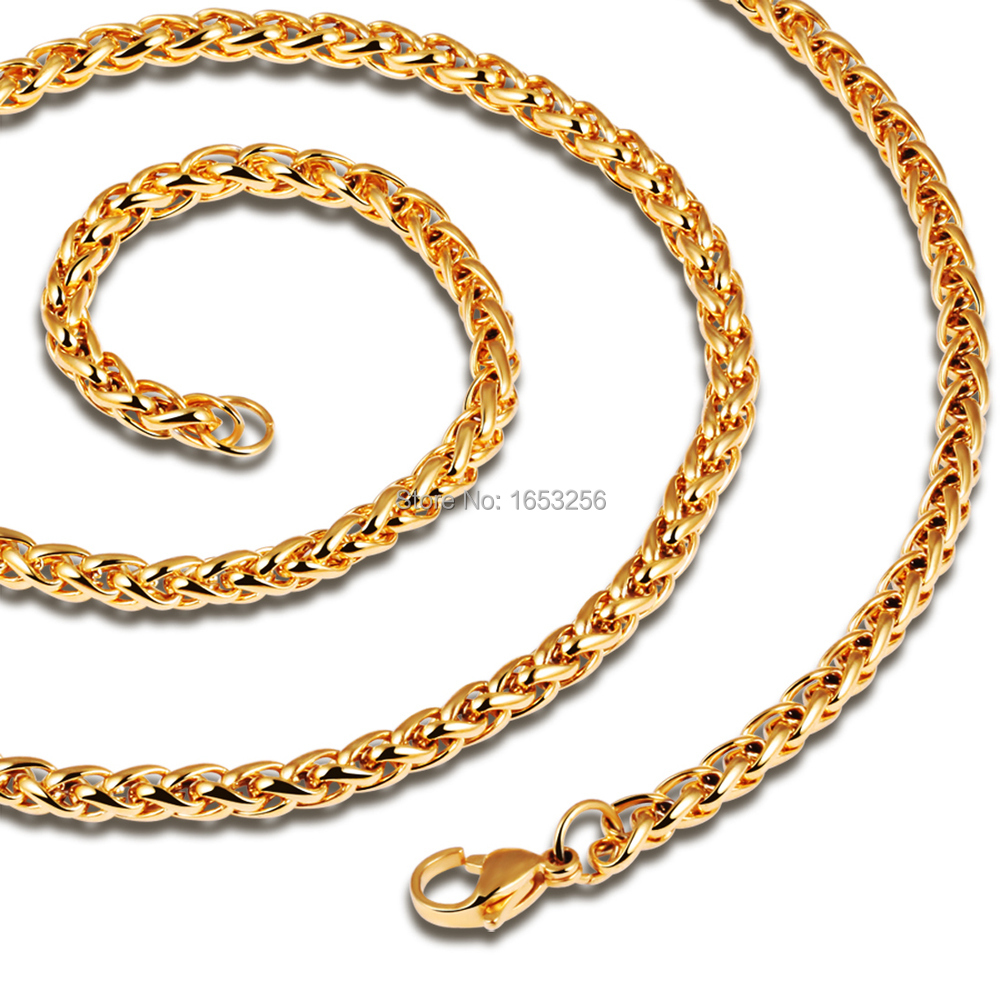 18K IP Yellow Gold 316L Solid Stainless Steel WHEAT BRAIDED CHAIN Link Necklace