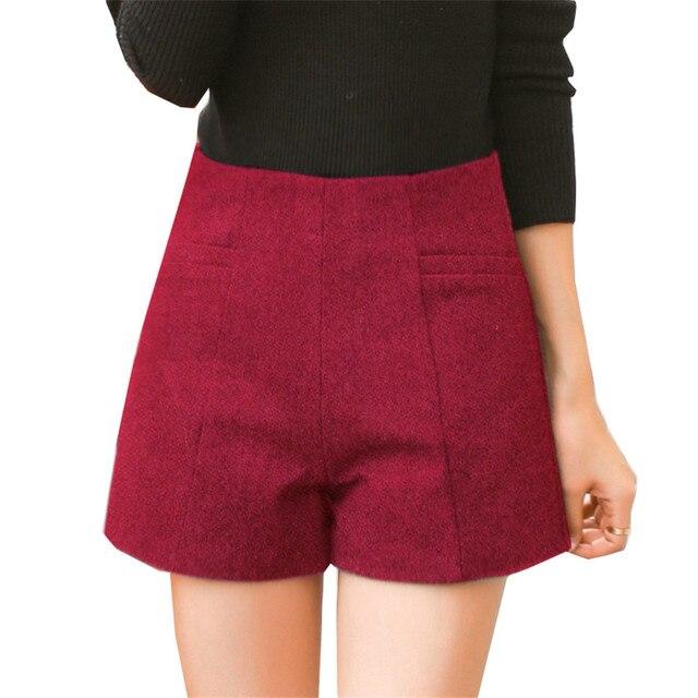 Nowa jesienna kobiety spodenki wysokiej talii czerwony wełniane szorty kobiet szczupła cienkie szorty szerokie nogawki zima duży rozmiar luźne spodenki krótkie WZ470