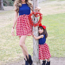 Small Fresh Mommy&Me Baby Girl Family Summer Sleeveless Splice Dress 4th Of July Dress Children's Clothing Set Outfits suit(China)
