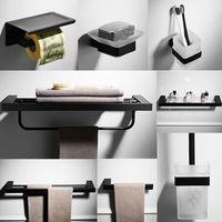 T Short towel rack stainless steel bathroom glass shelf paper box toilet bathroom hardware accessories set bathroom Nordic black