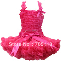 2013 Hot sell Girls pettiskirt set Pure hot pink chiffon pettiskirt+tank top with bows front 1-10years free shipping