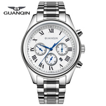 GUANQIN GQ25 Luxury Brand Watches Men Fashion & Casual Pin Buckle Stainless Steel Watches Sapphire Crystal Quartz Men's