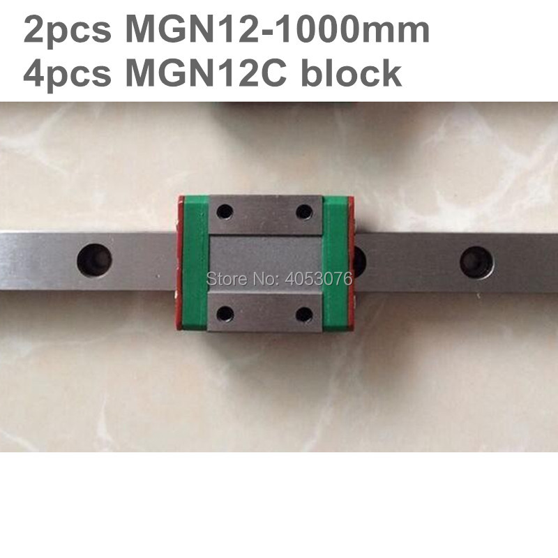 Linear guide MGN12 miniature linear rail slide 2pcs MGN12- 1000mm linear rail guide +4pcs MGN12C carriage for cnc partsLinear guide MGN12 miniature linear rail slide 2pcs MGN12- 1000mm linear rail guide +4pcs MGN12C carriage for cnc parts