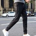 2017 nova Primavera moda calças hip hop Masculino de retalhos de couro sweaterpant harem hip hop harem calças dos homens Preto M-5XL