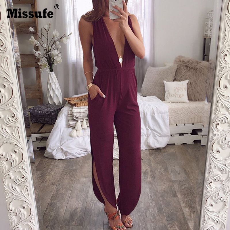 Missfue Sexy V Neck Overalls Female   Jumpsuits   Split Off Shoulder Bodysuits Women 2019 Summer Streetwear Backless Casual Playsuit