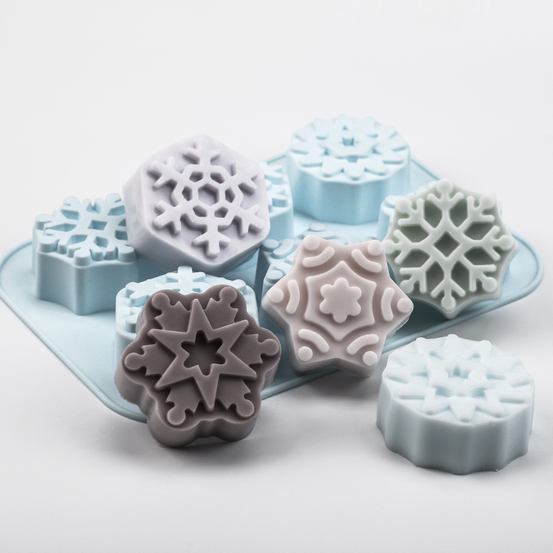 Snowflake Shape Soap Silicone Mold Christmas Aroma Gypsum Plaster Crafts Mould Snow Silicone Soap Candle Molds