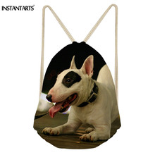 INSTANTARTS Men Drawstring Bag Small Eco-friendly Bull Terrier School Backpack Teen Girl Boy 3D Dog Print Portable Shoulder Bag