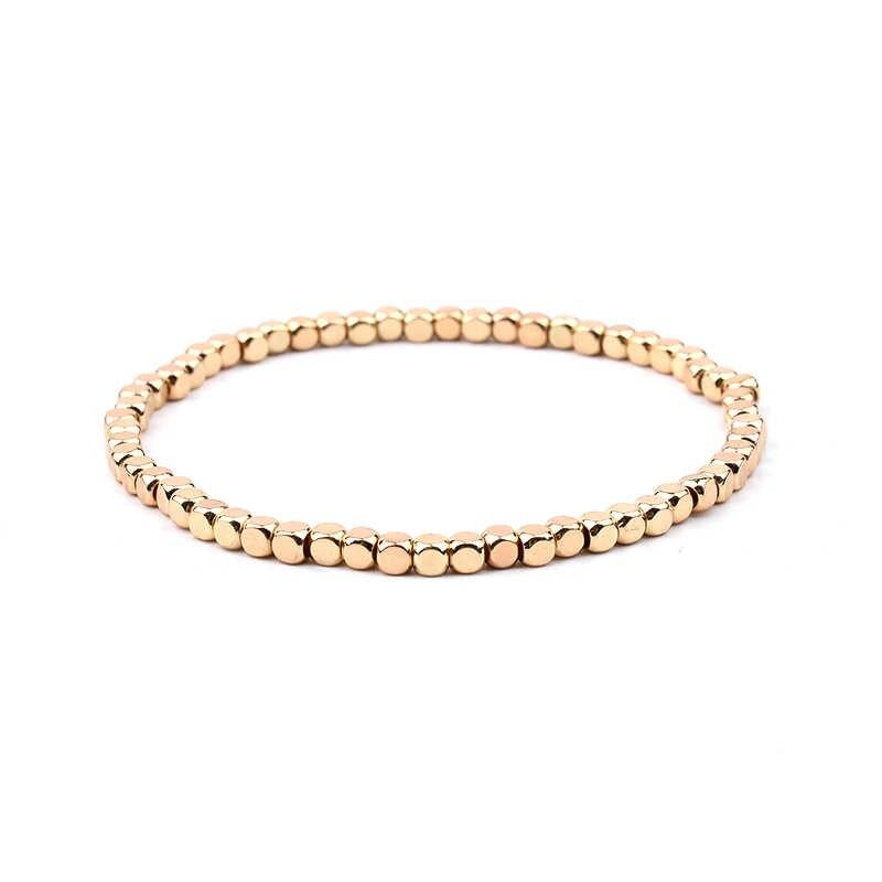 BOJIU Разноцветные кристаллы Strand браслеты для женщин золотистый акриловый медный бисер розовый белый черный серый женский браслет с кристаллами BC226