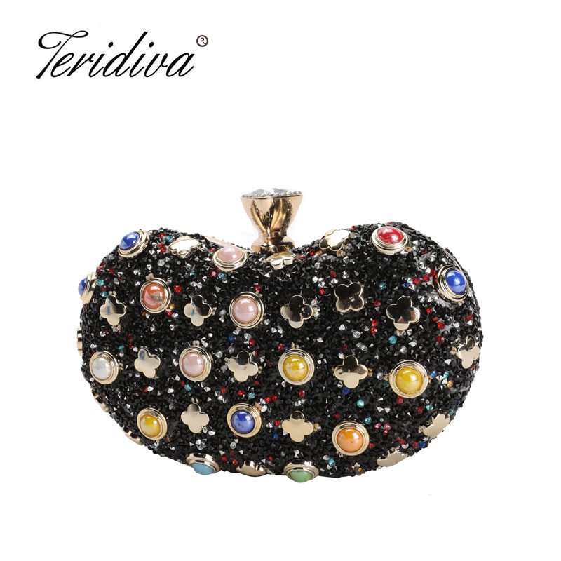 Women Evening Bags Beaded Wedding Handbags Clutch Purse Evening Bag for Party Day Clutches Diamond Shoulder Bags Brand Luxury luxury brand designer vintage diamond evening bag fashion women owl day clutch party dress handbags purse chain shoulder bags