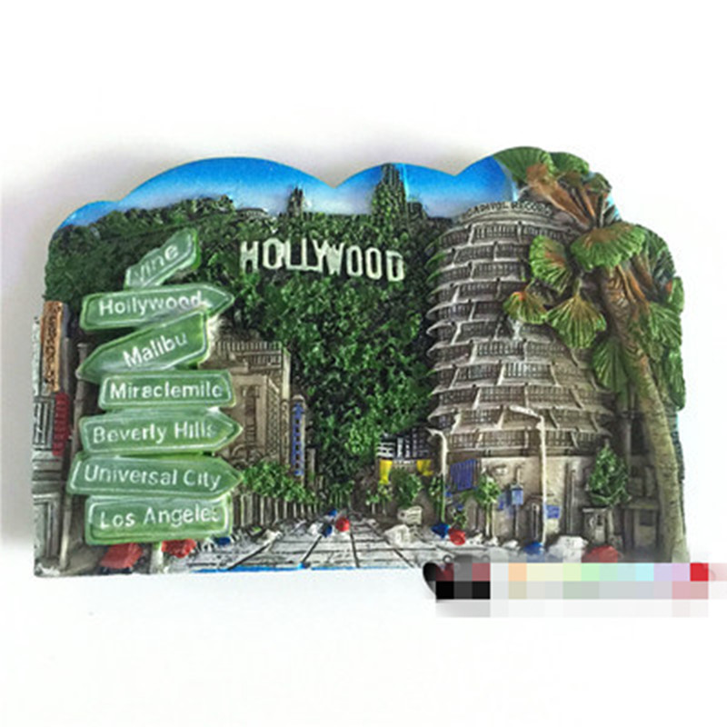Hollywood Road Sign Fridge Magnets Handmade USA Tourist Souvenirs Crafts Decorative Magnetic Refrigerator Stickers Gifts
