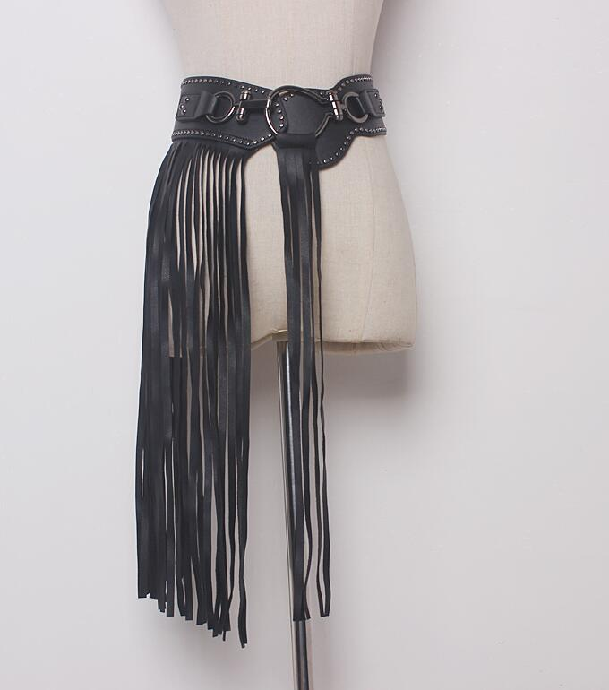 Women's Runway Fashion PU Leather Long Tassel Cummerbunds Female Korean Fashion Punk Decoration Wide Elastic Leather Belt R885
