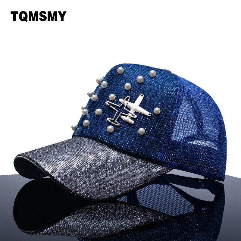 Prix pour TQMSMY Marque Snapback casquettes de Baseball Femmes soleil chapeau avions maille Hanche hop cap D'été gorras Perle sequin os Visière chapeaux pour femmes