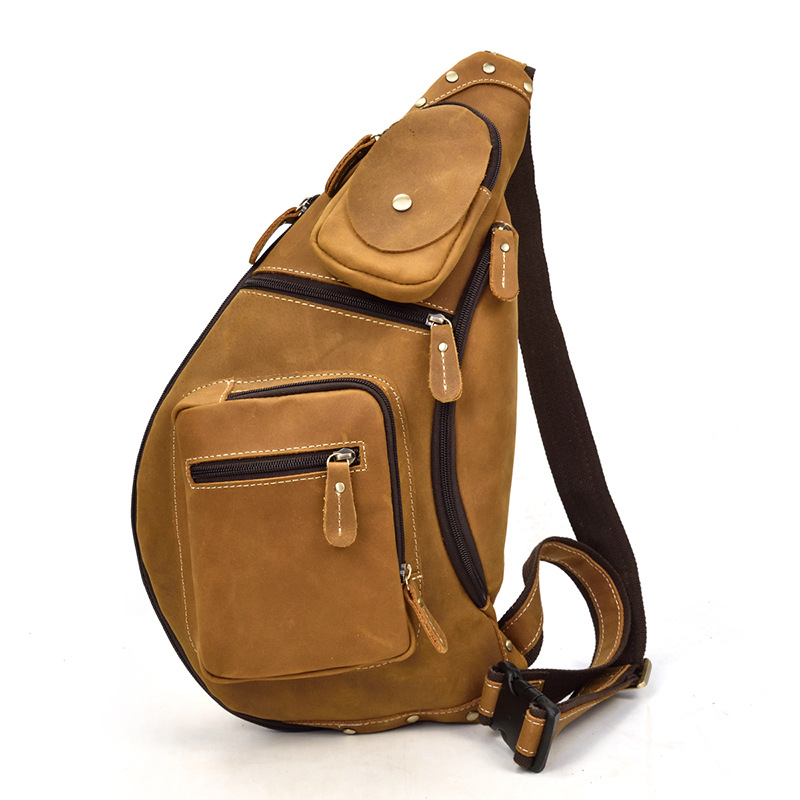 MAHEU Men s Genuine Leather Chest Bag Leather Big Capacity Crossbody Bag Casual Male Riding Messenger