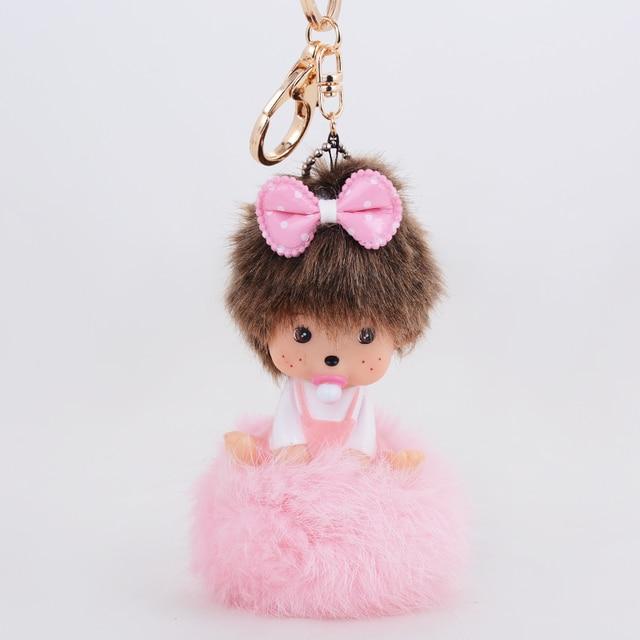 Lovely monchichi key chain luxury crysta Pink bowknot pendant key ring keychain birthday gift rabbit fur ball keychain