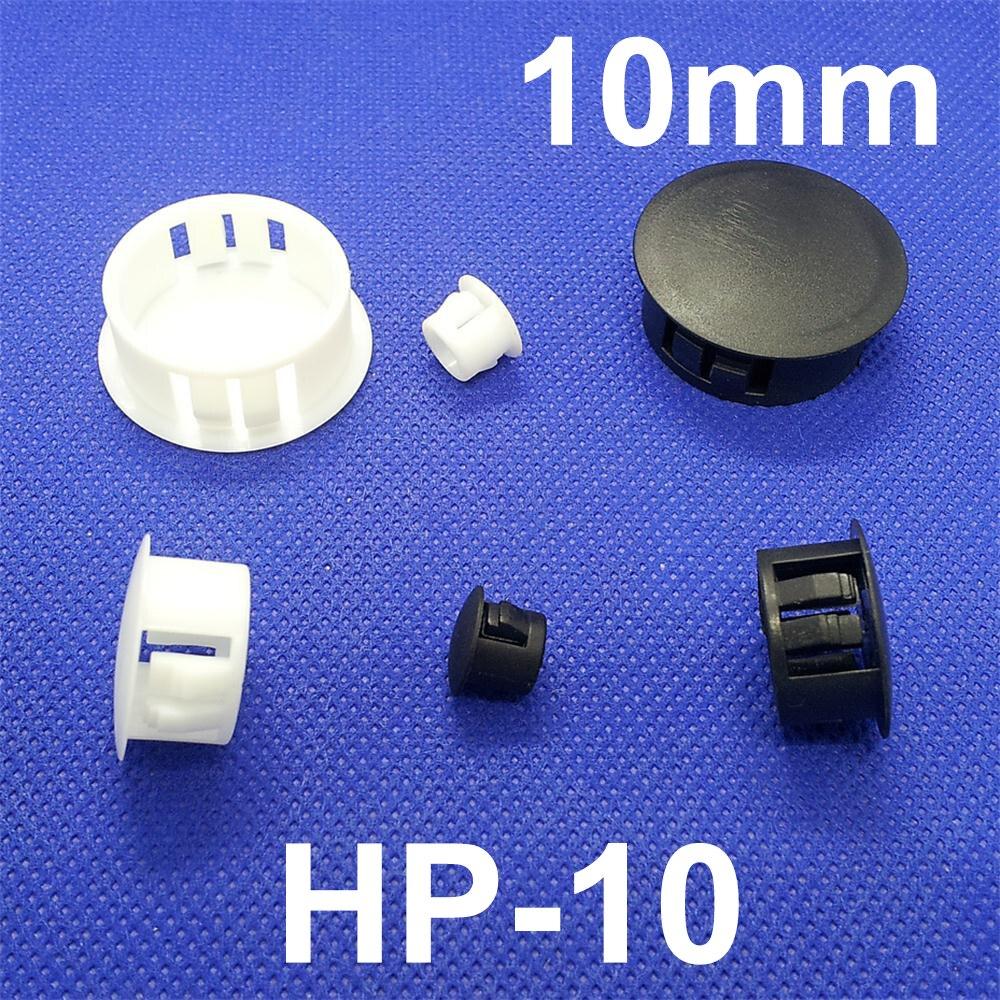 80pcs HP-10 10MM Diameter Black White Nylon Plastic Diameter End Cap Grommet Push Lockin ...