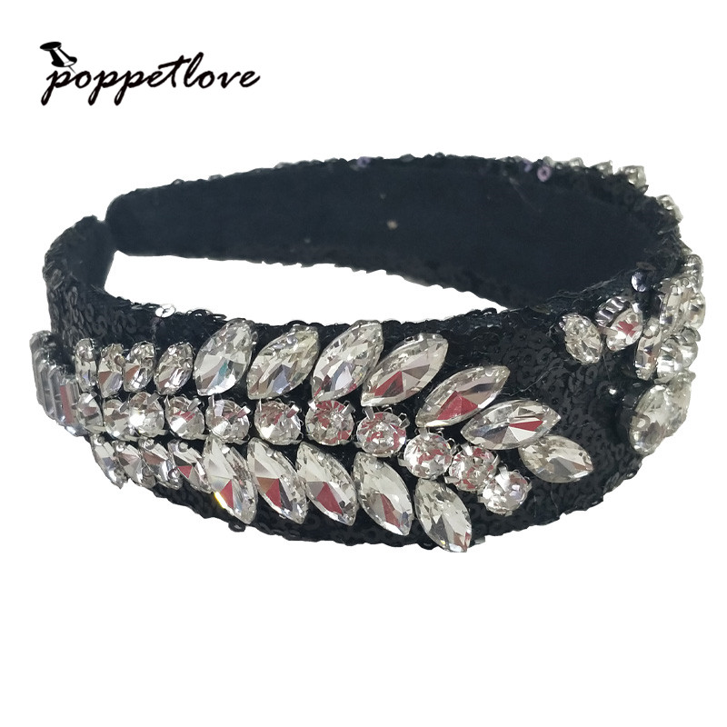 Vintage Simple Retro Women Elastic Shiny Crystal Hairbands Handmade Style Lady Women Hot Sale Headwear Hair Accessory
