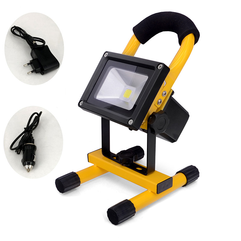 2016 Best portable floodlight Led Outdoor 10w Rechargeable light IP65 Waterproof For outside Camping with charger