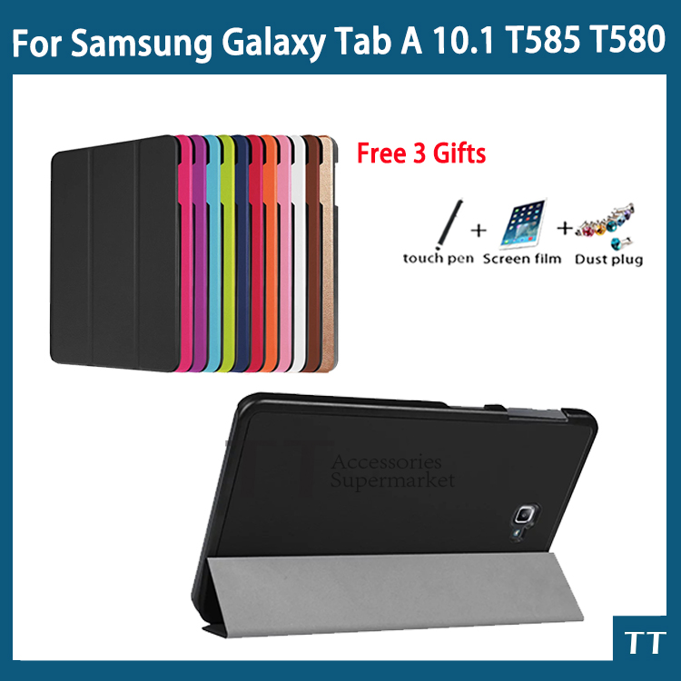 High quality Smart Flip CaseFor Samsung Galaxy Tab A 10.1 2016 T585 T580 SM-T580 T580N case cover +Gift +Screen Protector tempered glass for samsung galaxy tab a 10 1 2016 screen protector for galaxy tab a 10 1 sm t580 sm t585 or sm p580 sm p585