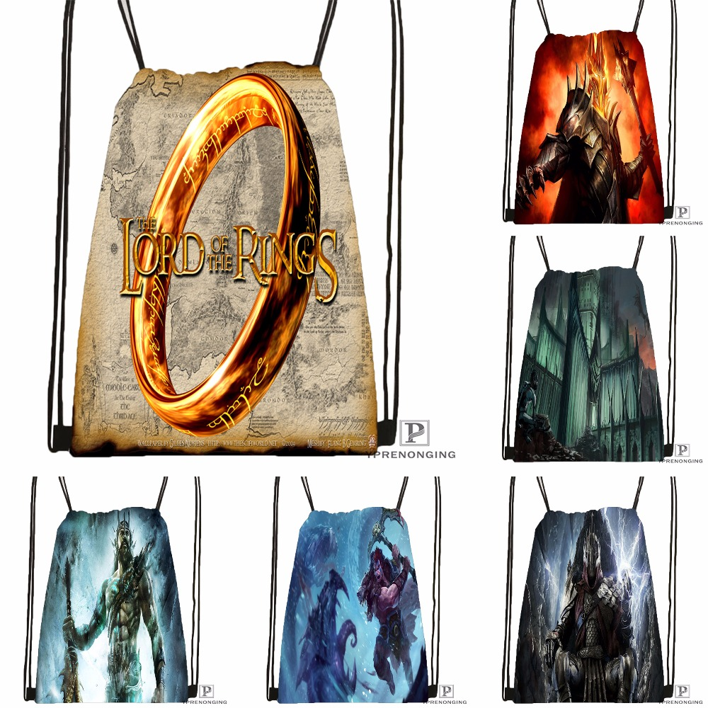 Custom The Lord Of The Rings Drawstring Backpack Bag Cute Daypack Kids Satchel (Black Back) 31x40cm#180531-03-41