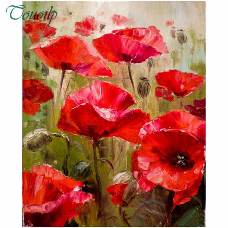 Full diy stickers cross stitch 5d diamond embroidery Floral poppy diamond painting mosaic embroidery picture of rhinestones kits