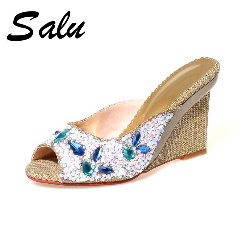Salu 2019 high quality summer Genuine leather women sandals shoes slingback shoes fashion wedges platform shoes