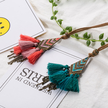 Women Statement Tassel Fringe Pendant Necklace Leather Long Sweater Chain Winter Jewelry Accessories for Ladies