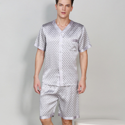 100% genuine silk short pajama sets men short sleeves noble sexy mens sleepwear set mens pijamas hombre summer New