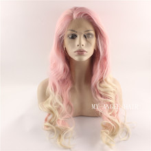 Hot Sale Long Ombre Two Tone Pink Root Blonde Wavy Wig Synthetic Lace Front Wig Heat Resistant Hair Kanekalon Wigs.