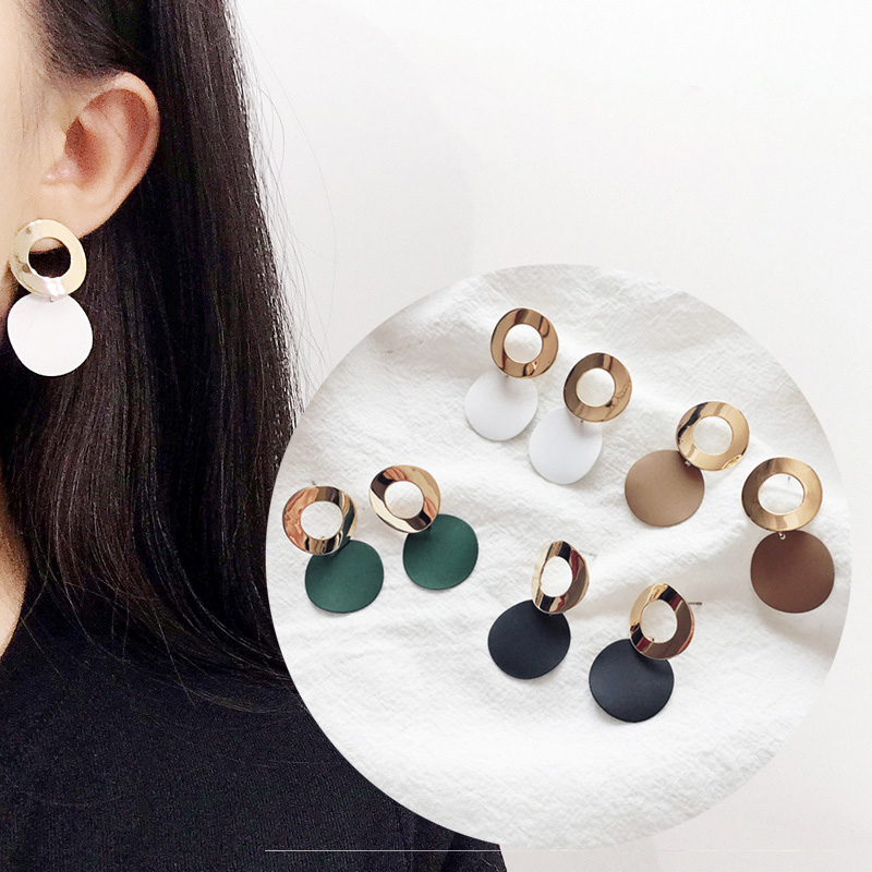 European Personality Jewelry Stud Earrings Hollow Metal Geometry Round Earrings Foe Women Accessories Party Birthday Gifts
