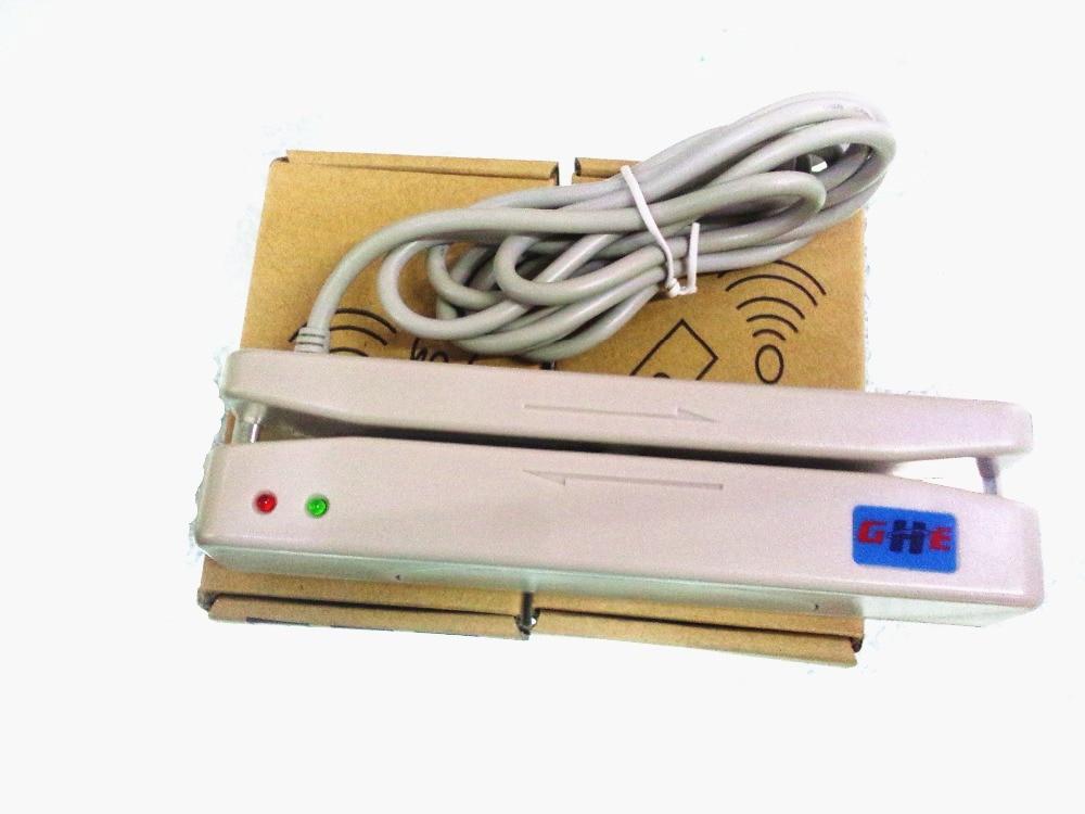 USB Universal Magnetic Card Barcode Reader Stripe Bidirectional MSR Card Reader  1 2 Track White