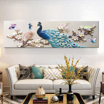 Nordic Modern Art Prints Modern Cotton Paintings Azure Peacock Blue Long Beautiful Tail Decorative Posters For Home Wall Decor
